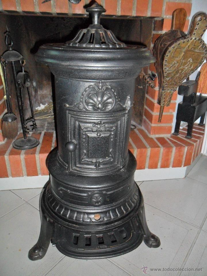Preciosa antigua estufa de le a marca godin estufas y - Estufas de lena de hierro ...