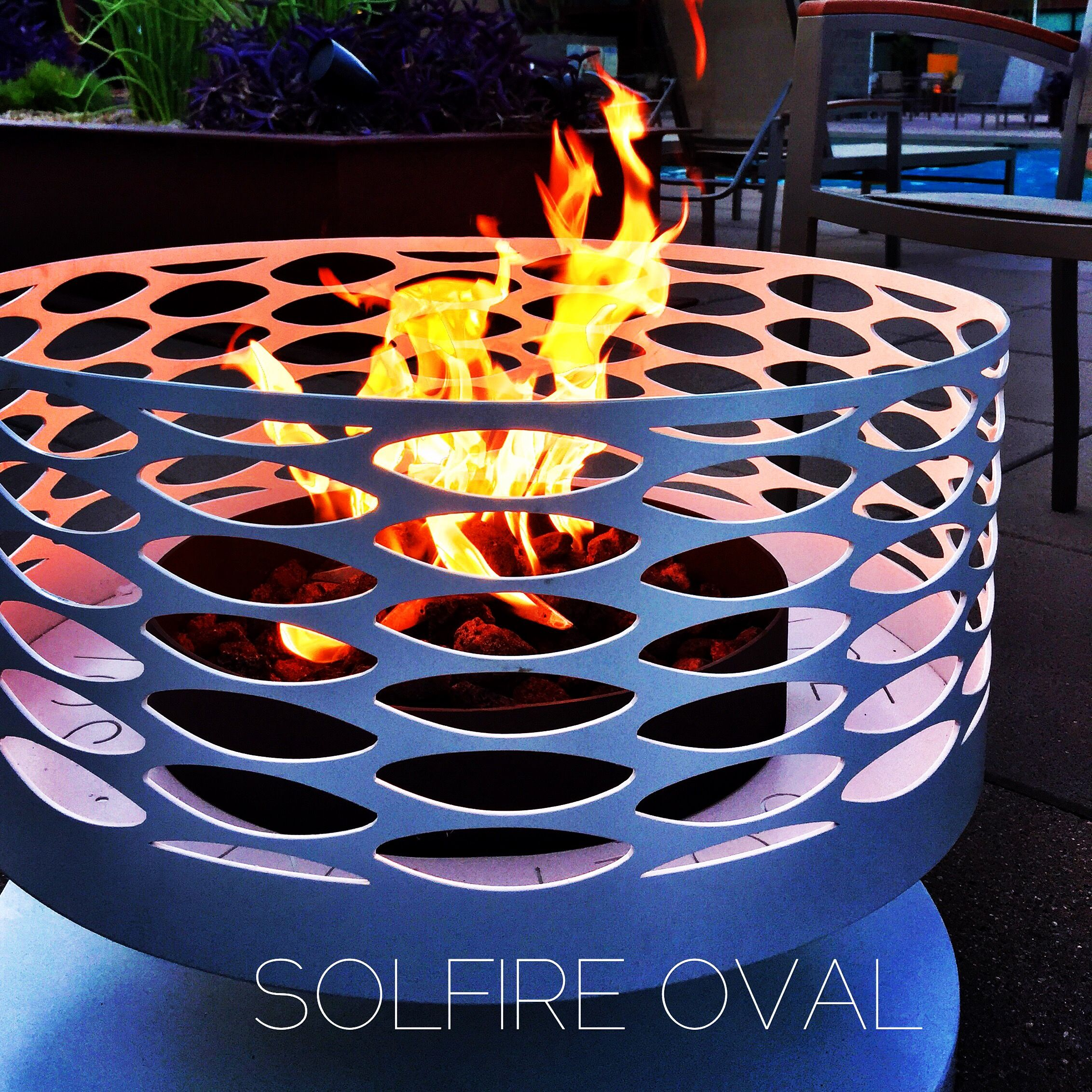 """Marne gave me a cool shirt with the phrase """"I do it for the love""""across the chest. So fitting, every time I ignite one of these fireplaces, I fall in love all over again. Our beautiful, new, Solfire Oval is available by special order. 1050.00 modfire.com #modfire"""