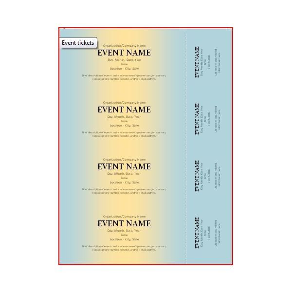 free event ticket template for word