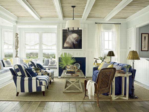 coastal nautical modern hamptons blue stripe lounge armchairs