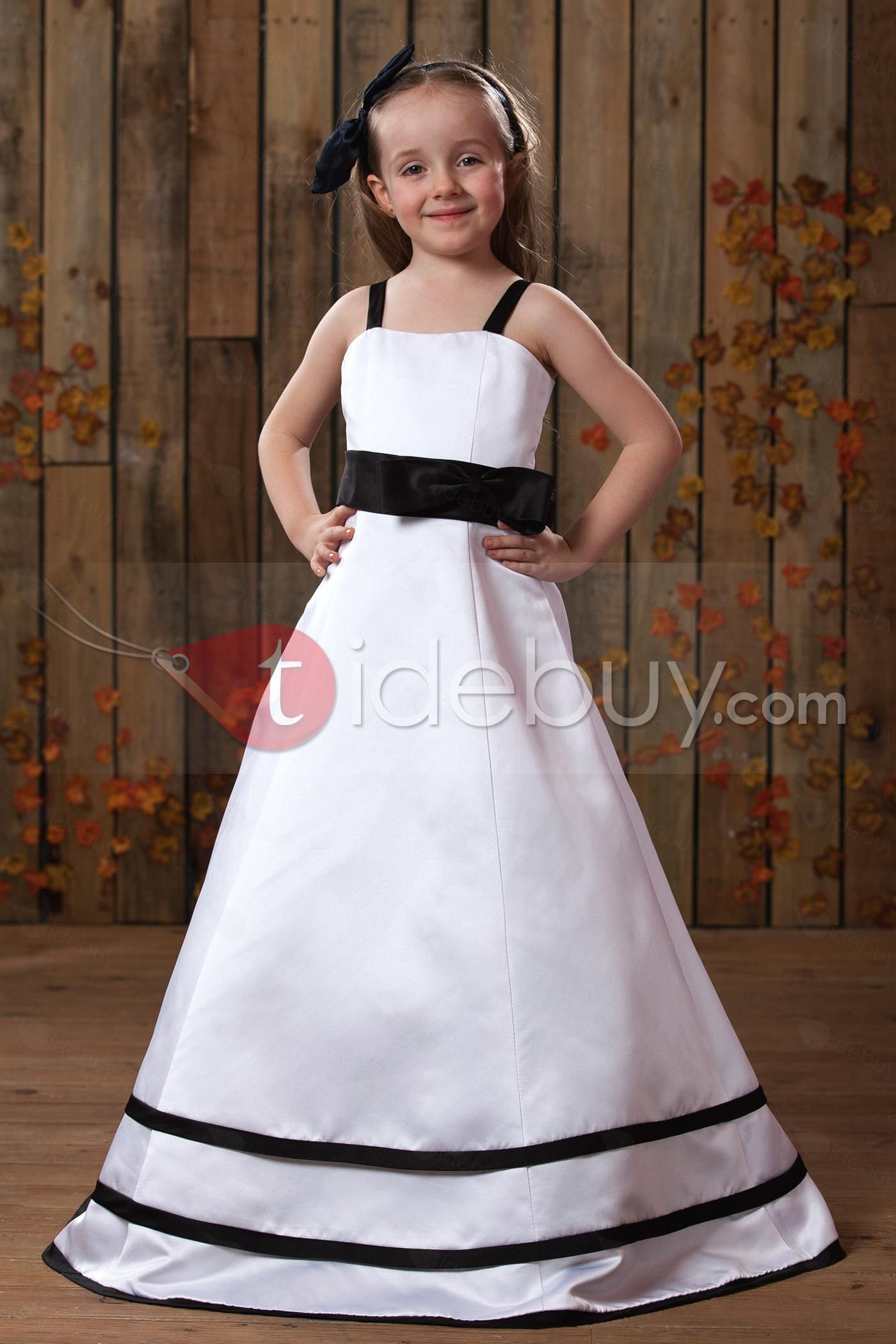 Girls wedding dress  Beautiful Square Neckline Aline FloorLength Bowknot Embellishing