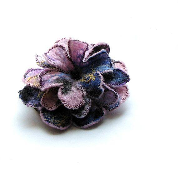 Lavender Felted Brooch  Felt Flower felt  Unique Brooch by albado, $28.00
