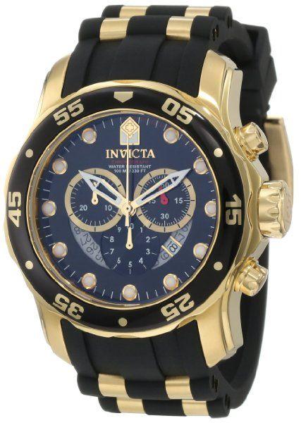 Invicta Men's 6981 Pro Diver Collection Chronograph Black Dial Black Polyurethane Watch:Amazon:Watches