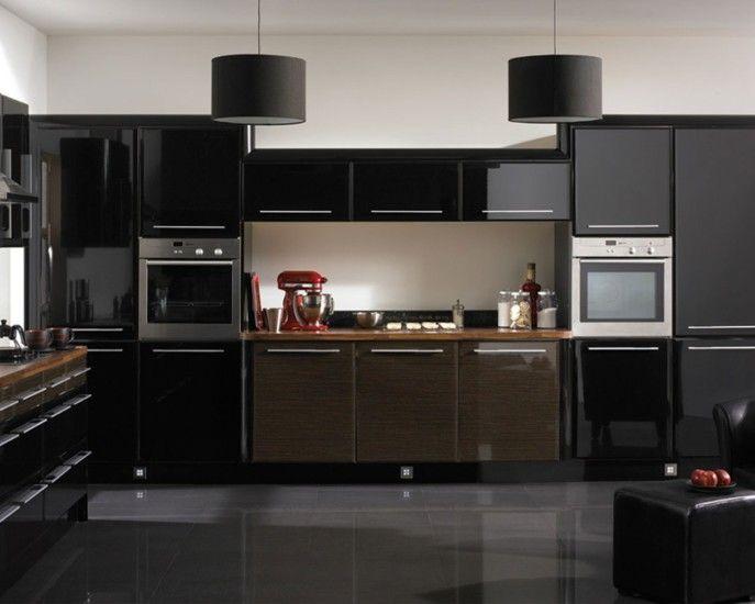 Kitchen Example Kitchen With Black Color Theme Black Kitchen Theme With Black Kitchen Ca Diseno De Cocina Decoracion De Cocina Moderna Decoracion De Interiores