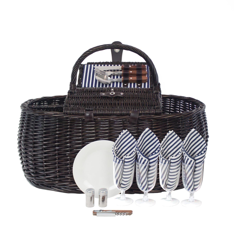 2358288d Zelancio 4 Person Picnic Basket Set Dual Lid Design Service for Four Beach  Park and Backyard