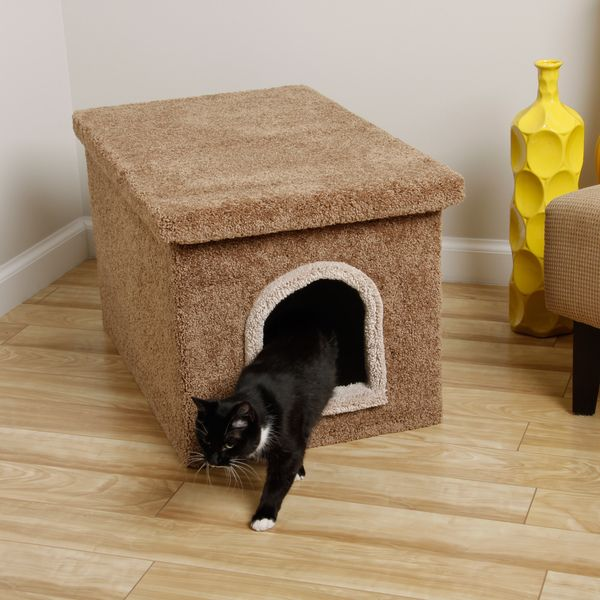 New Cat Condos Litter Box Enclosure Solid Wood Construction Carpeting Outside Washable Lining