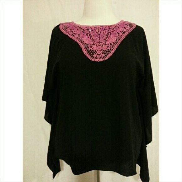 🆑🎉HP🎉 Pink & Black Solid Batwing Poncho Pink & Black Solid Batwing Poncho has pink crochet with pink sequins. Size L(14/16), 100% polyester Susan Graver Tops Tunics