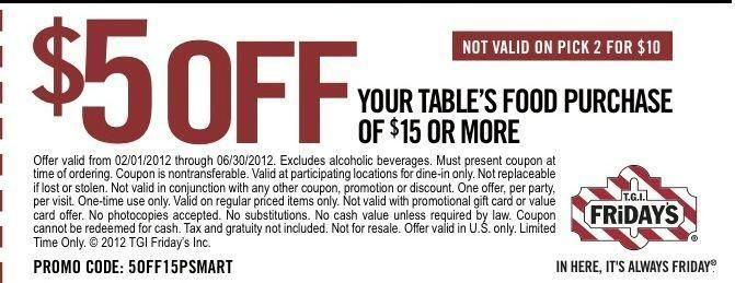 image about Fridays Printable Coupon referred to as Printable discount coupons for tgi fridays / Van heusen outlet coupon