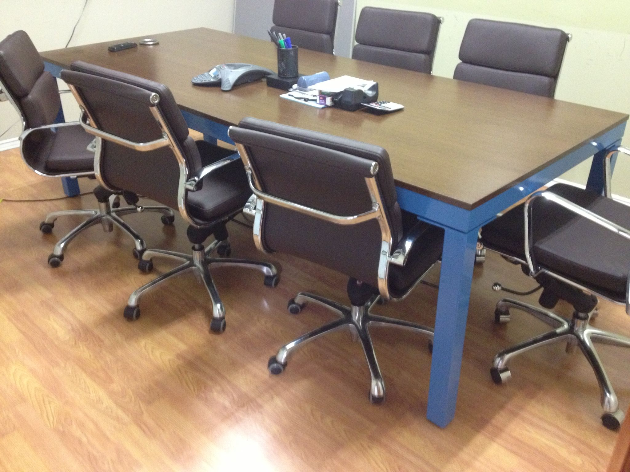 X Welded Steel Conference Table Blue Powder Coating And - Detachable conference table