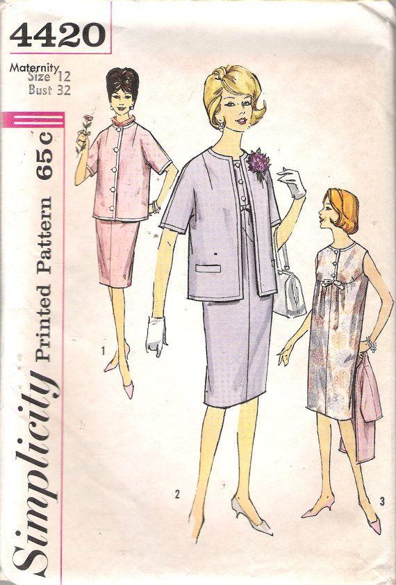 Vintage 1962 Simplicity 4420 Maternity One-Piece Dress & Jacket ...