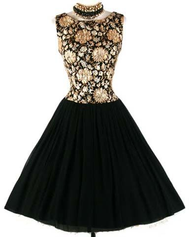 50s Black Gold Brochade Party Cocktail Dress