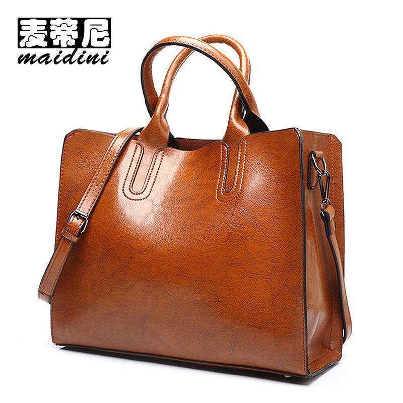e5852880e882 Women Luxury Designer Handbags Oil Wax Leather Ladies Handbag Simple  Commuter Casual Tote Bag Female Large