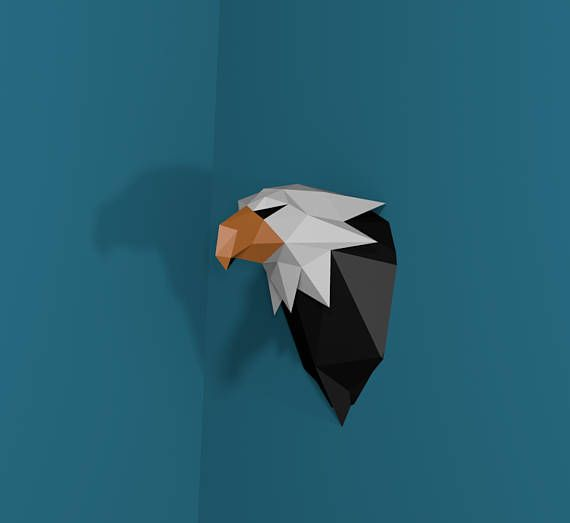 Papercraft Eagle Head, Paper Trophy, Paper Animal Head