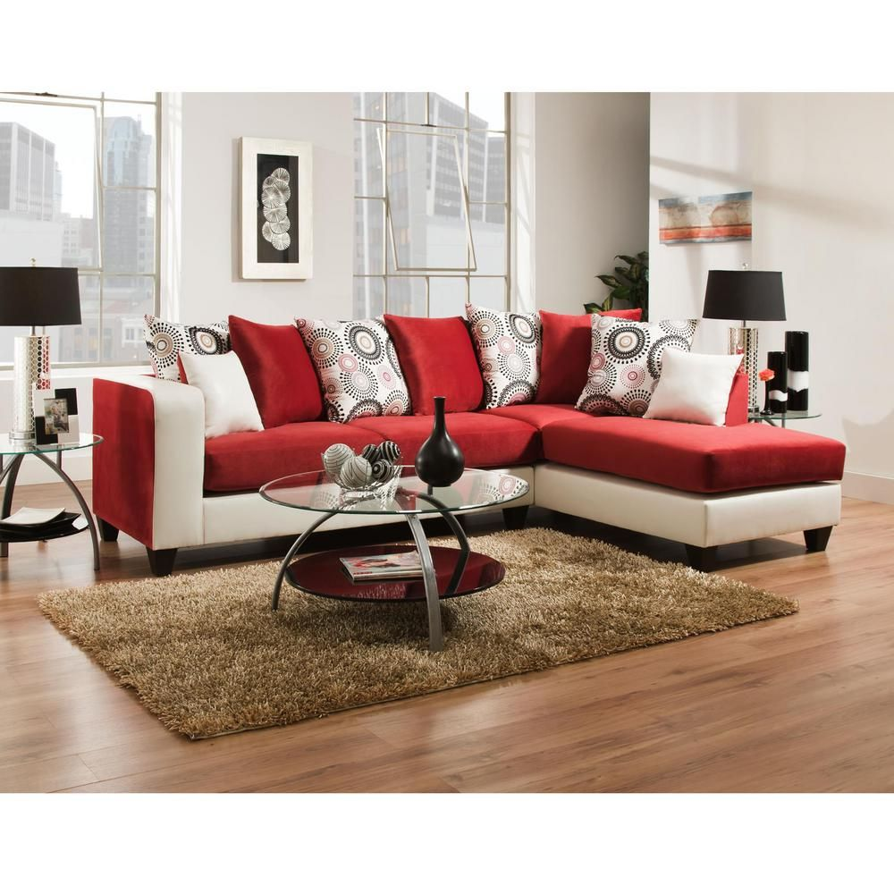 Riverstone Implosion Red Velvet Sectional Red White Products