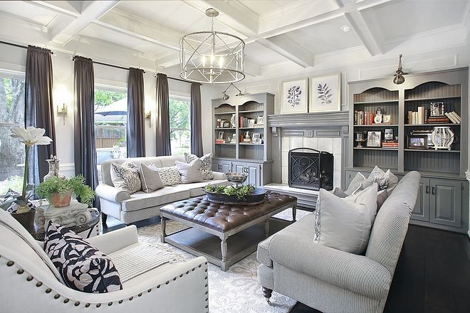 Best Chelsea Gray By Benjamin Moore Living Room Built In 400 x 300