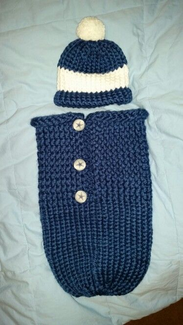 Loom Knit Dallas Cowboys Baby Cocoon And Hat Loom Knitting