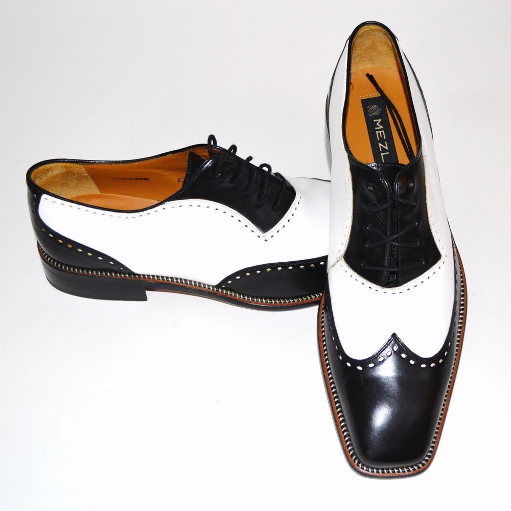 Mezlan Mens Spectator Shoes Black White Dress Size 10.5 Oxford Lace Up Tie