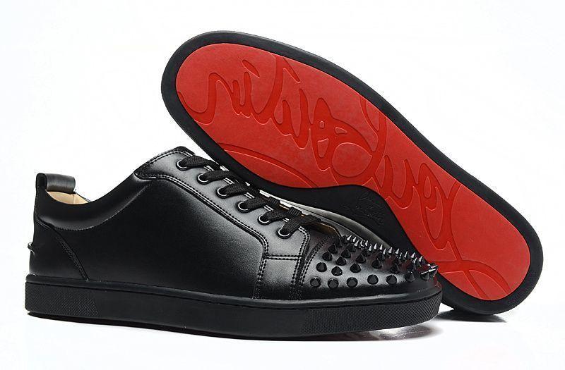 online retailer b118b 1accd Christian Louboutin Black Leather Black Spike Sneakers Mens ...