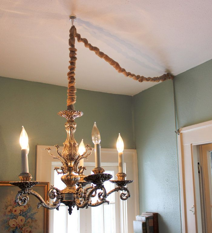 Hang A Chandelier Without Hardwiring By Converting To A Lamp And Then Covering The Cord This