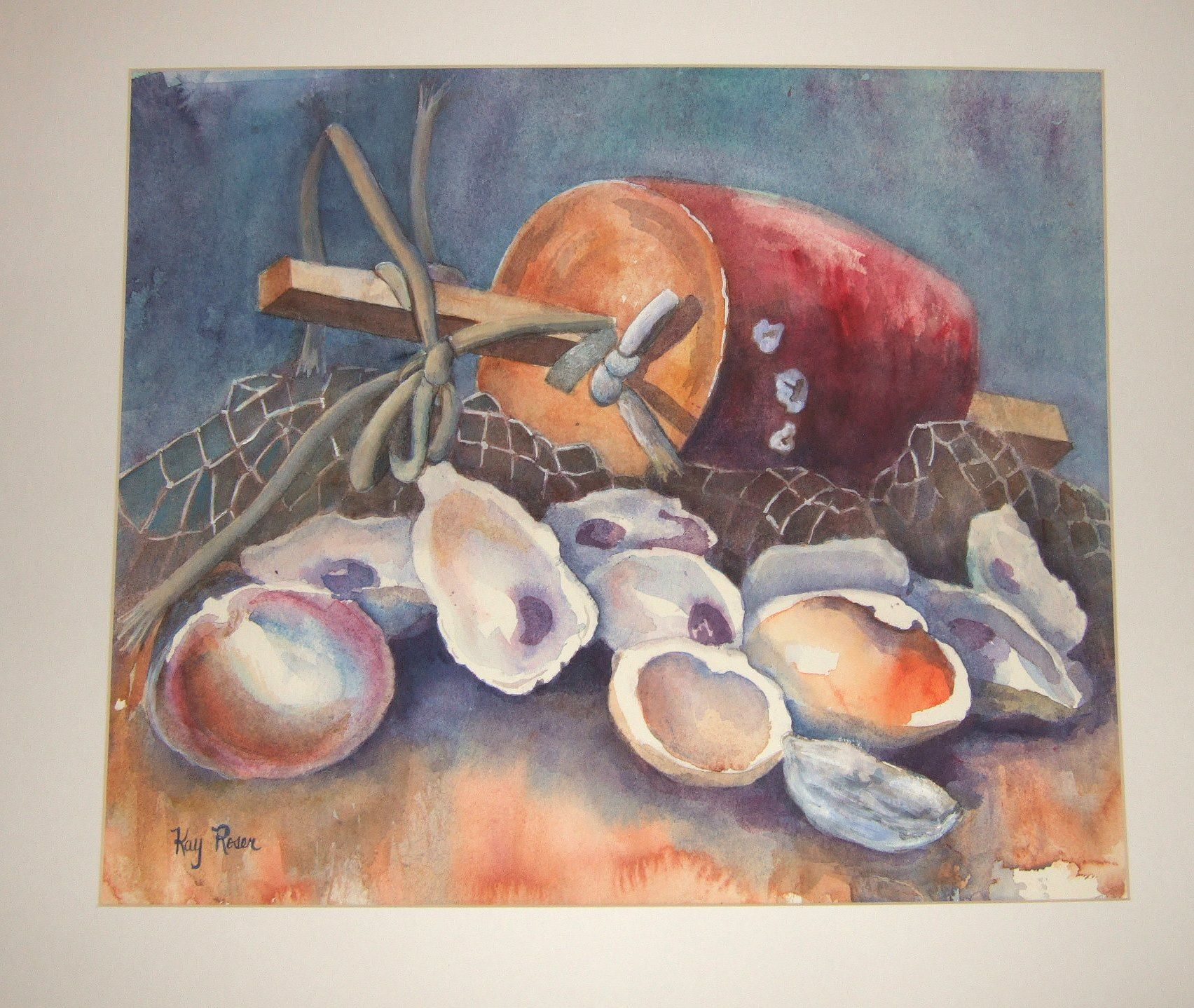 Chesapeake Bay Oysters Water Color Painting