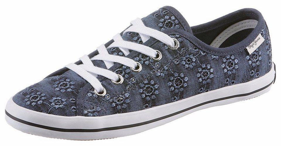 Pepe Jeans »GERY ANGLAISE« Sneaker mit Blütenstickerei