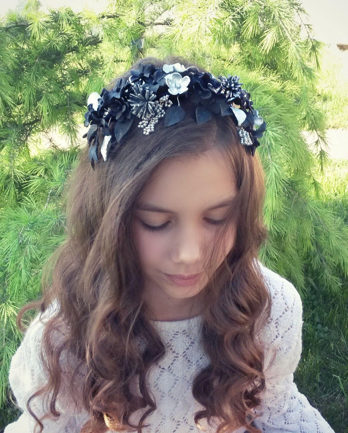 Wedding black hairpiece flower bridal hairvine bridal silver hair