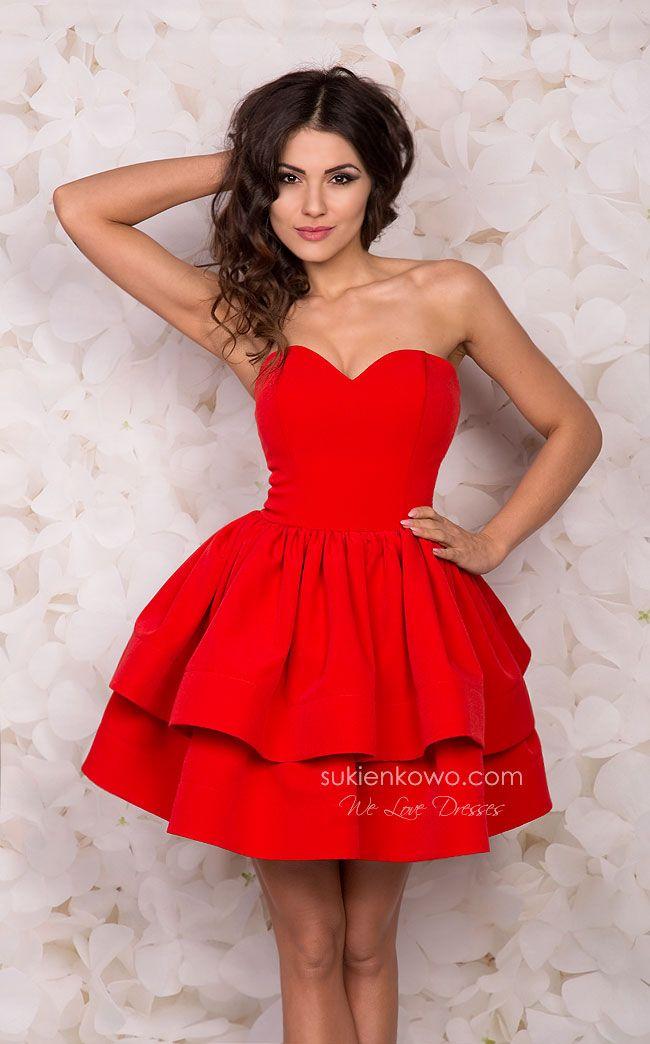 aa8c20a7ed Sukienkowo.pl - SHANNON rozkloszowana gorsetowa sukienka czerwona z dwóch  falban