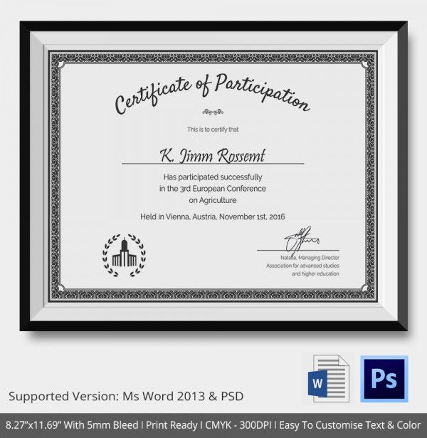 Participation Certificate Template   Free Word Pdf Documents