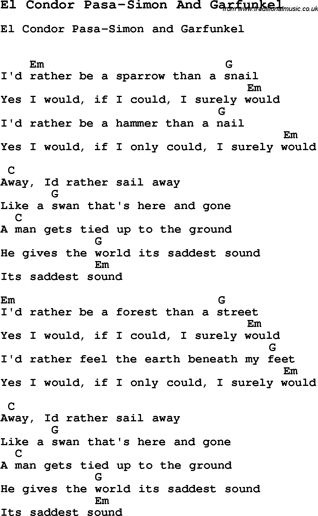 Summer Camp Song El Condor Pasa Simon And Garfunkel With Lyrics