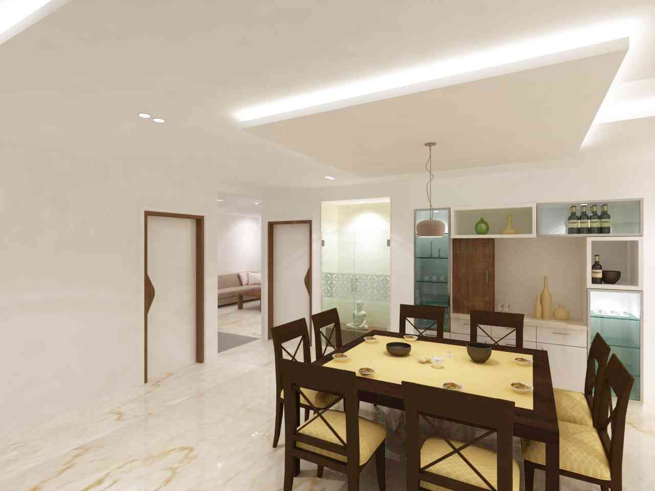 The Dining Area with Home Bar Design by Samanth gowda, Architect in ...