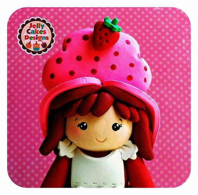 vintage style Strawberry Shortcake topper by Jelly Cakes Designs