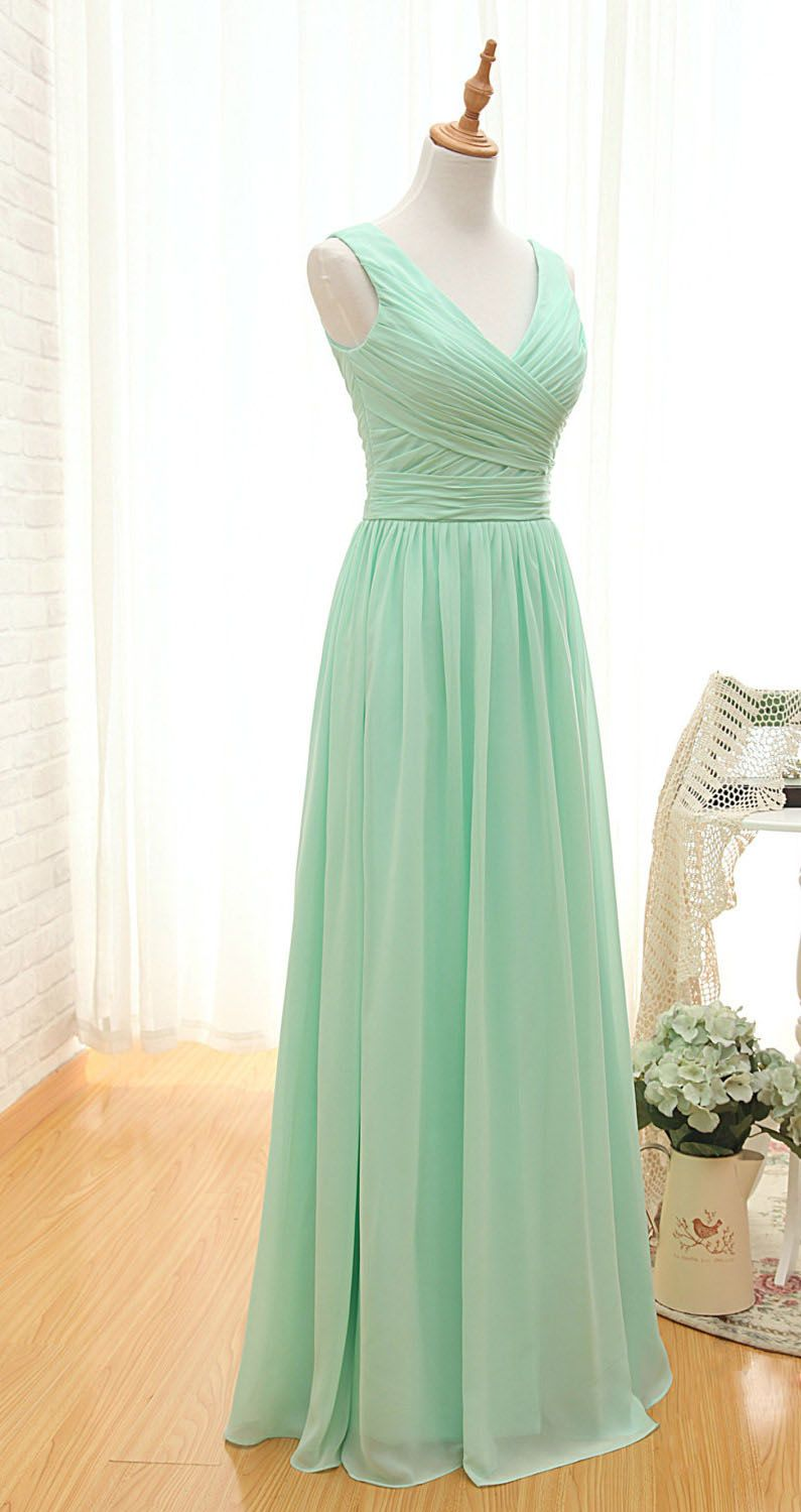 Beautiful mint green v neck pleated long chiffon bridesmaid dress beautiful mint green v neck pleated long chiffon bridesmaid dress ombrellifo Image collections