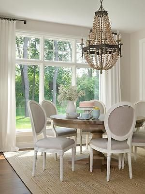 French Country Scalloped Wood Bead Chandelier Regina Style 8 Light Ebay Beautiful Dining Rooms Dining Room French Dining Room Windows