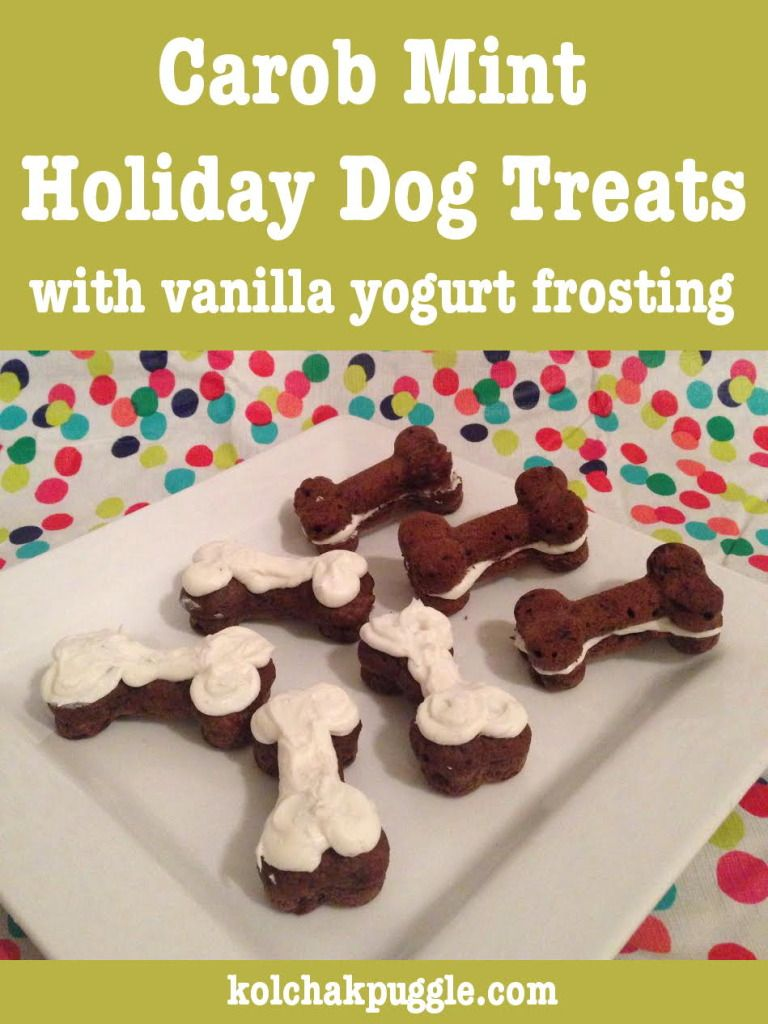 Carob Mint Bones Dog Treat Recipe and An Advent4Dogs Giveaway | http://kolchakpuggle.com/2014/12/advent-for-dogs-giveaway-day-2.html