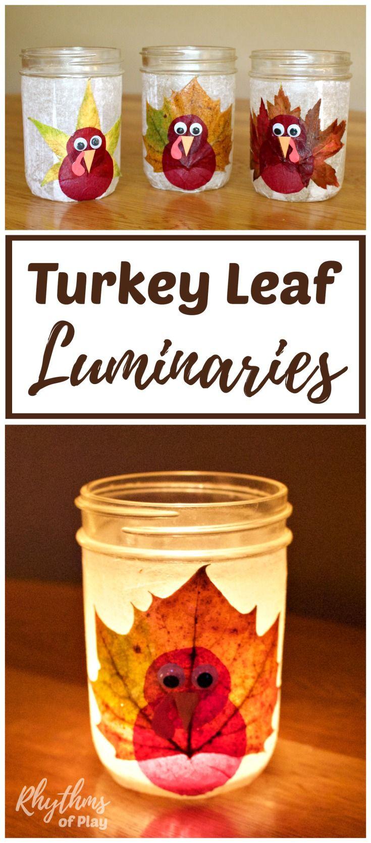 Turkey leaf lanterns thanksgiving craft autumn nature nature