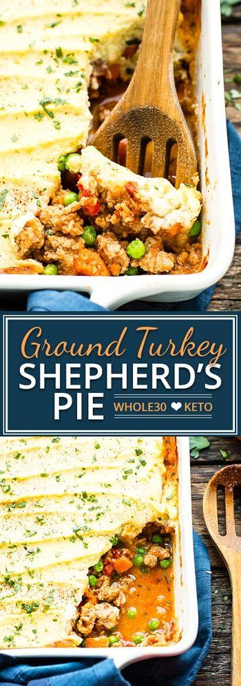 Ground Turkey Shepherd's Pie | Whole30 + Paleo Ground Turkey Recipe