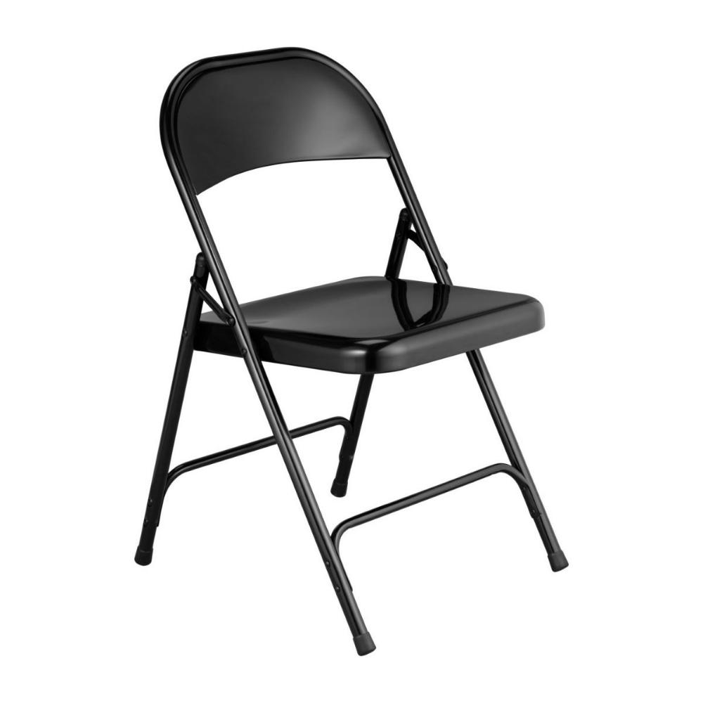 Chaise Pliante Noire En Acier Laque In 2020 Metal Folding Chairs Folding Chair Black Dining Chairs