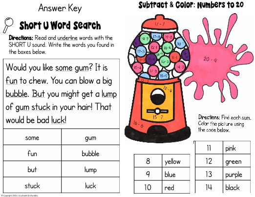 This is a fun, mixed-skills worksheet designed for first graders