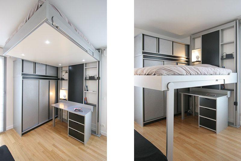 chambre d 39 ado de 9m2 multifonctions pari r ussi par myhomedesign duplex familial. Black Bedroom Furniture Sets. Home Design Ideas