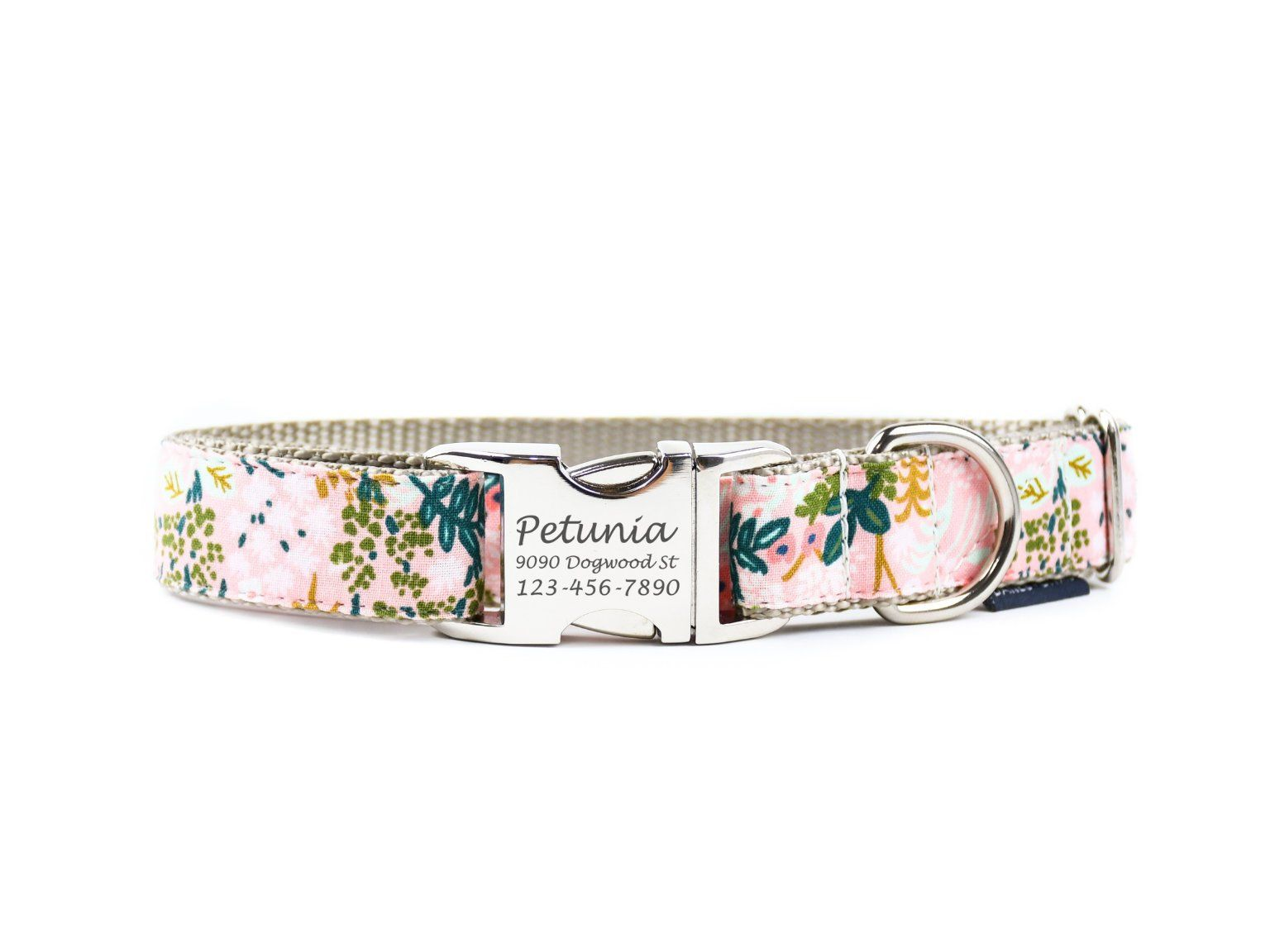 Spring Floral Personalized Engraved Dog Collar. Made in