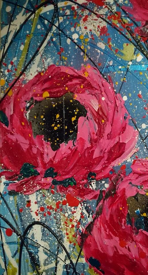 Abstract Flower Painting Pallet Knife Abstract Flower Painting Floral Paintings Acrylic Abstract Flowers