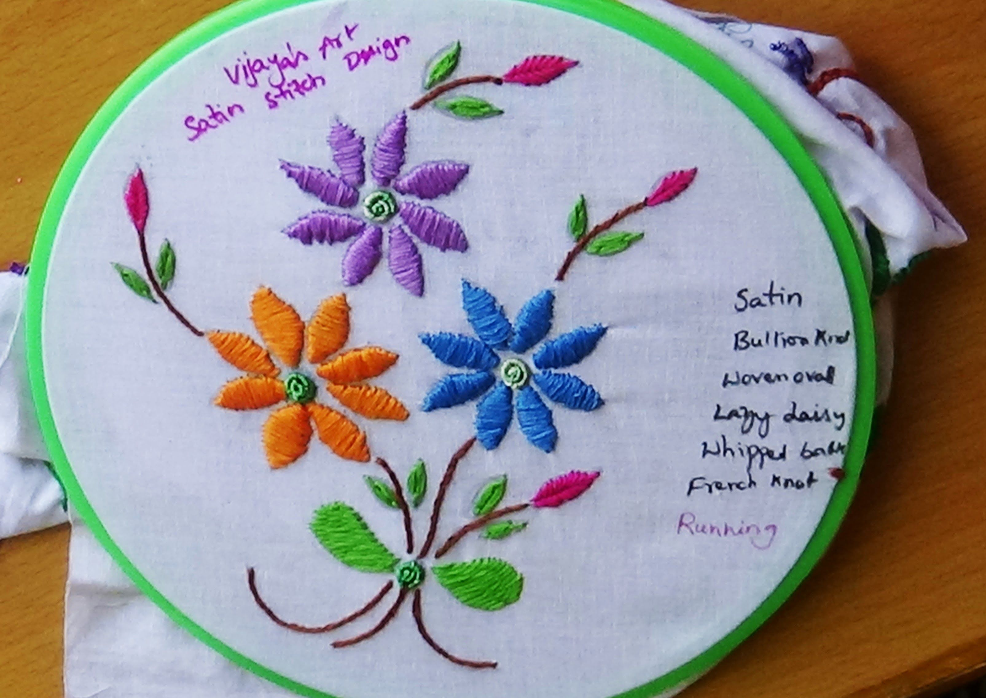 Hand Embroidery Designs 115 Satin Stitch Design Vijayas Art