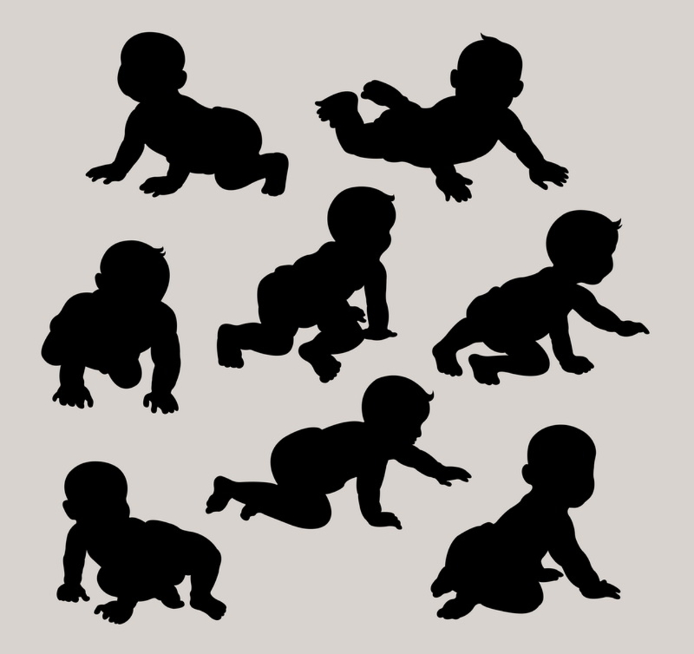 Baby Crawling Silhouettes Set Very Smooth Baby Silhouette Crawling Baby Silhouette