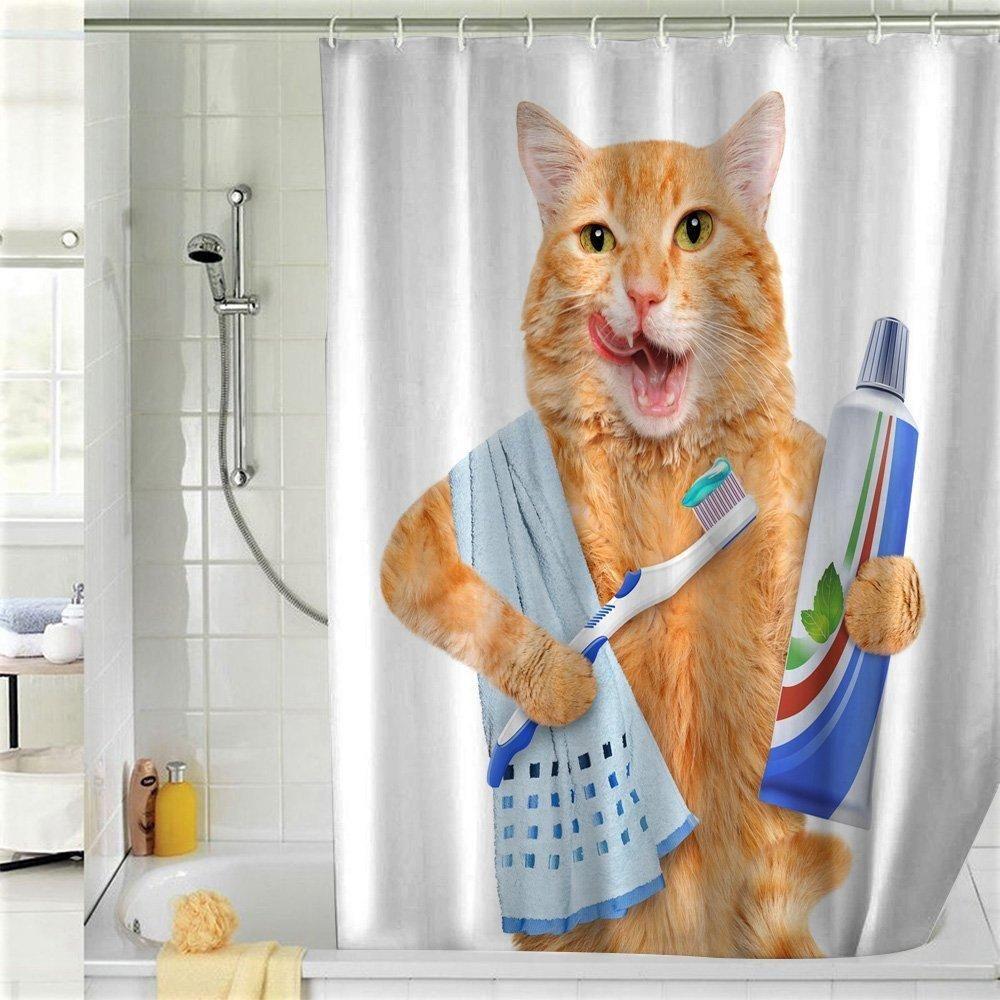 Cat Brushing Teeth Shower Curtain Cat Shower Curtain Funny
