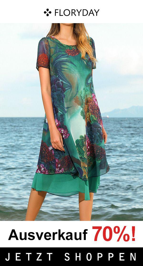 Knielanges A-Linien-Kleid mit rundem Ausschnitt und Farbblock