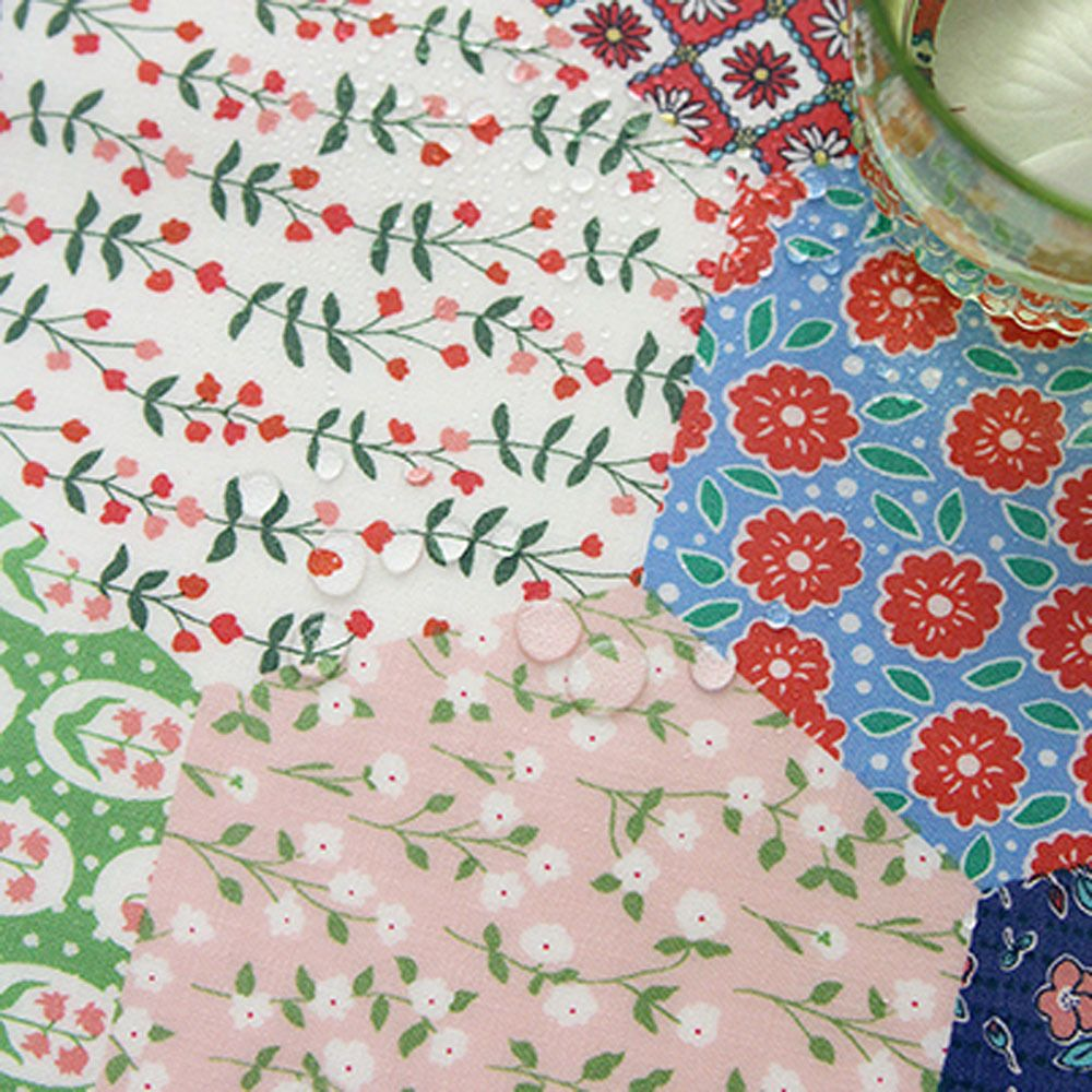Laminated Cotton Fabric By The Yard 44 Wide Cozy Hexagon Patch