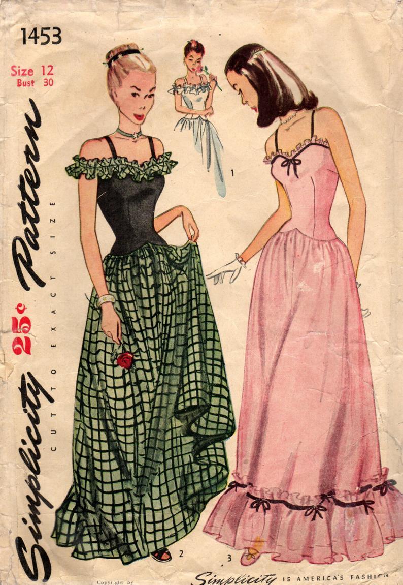 1940s Simplicity 1453 Vintage Sewing Pattern Misses Evening Etsy Evening Dress Patterns Formal Dress Patterns Retro Dress Pattern [ 1151 x 794 Pixel ]