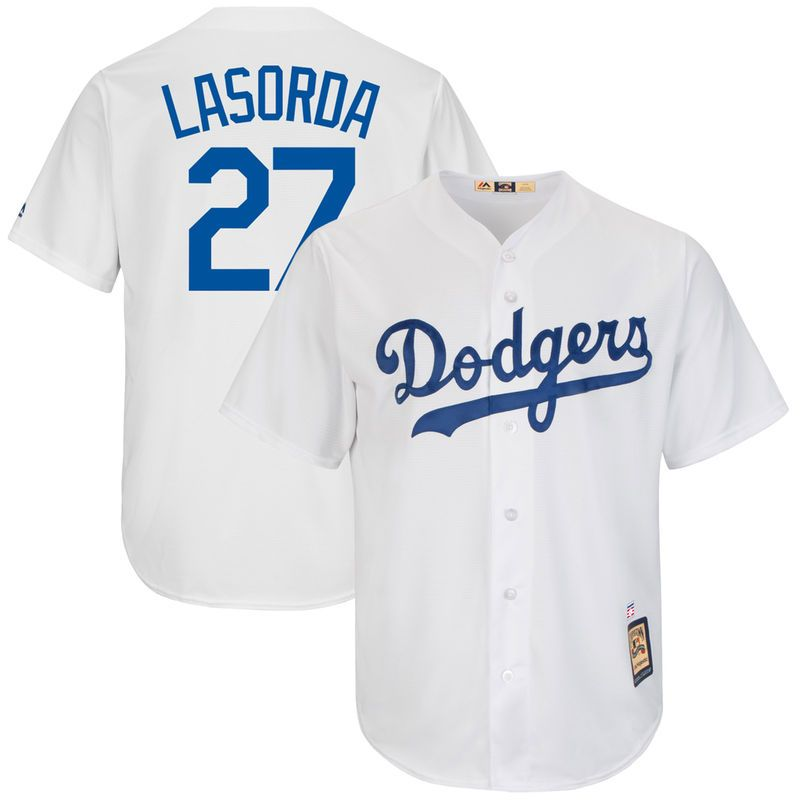 fe3f2ca7f Tommy Lasorda Brooklyn Dodgers Majestic Cooperstown Collection Cool Base  Replica Player Jersey - White
