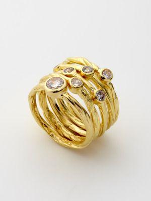 Sheila Fajl  Set of 5 Crystal Rings  $125