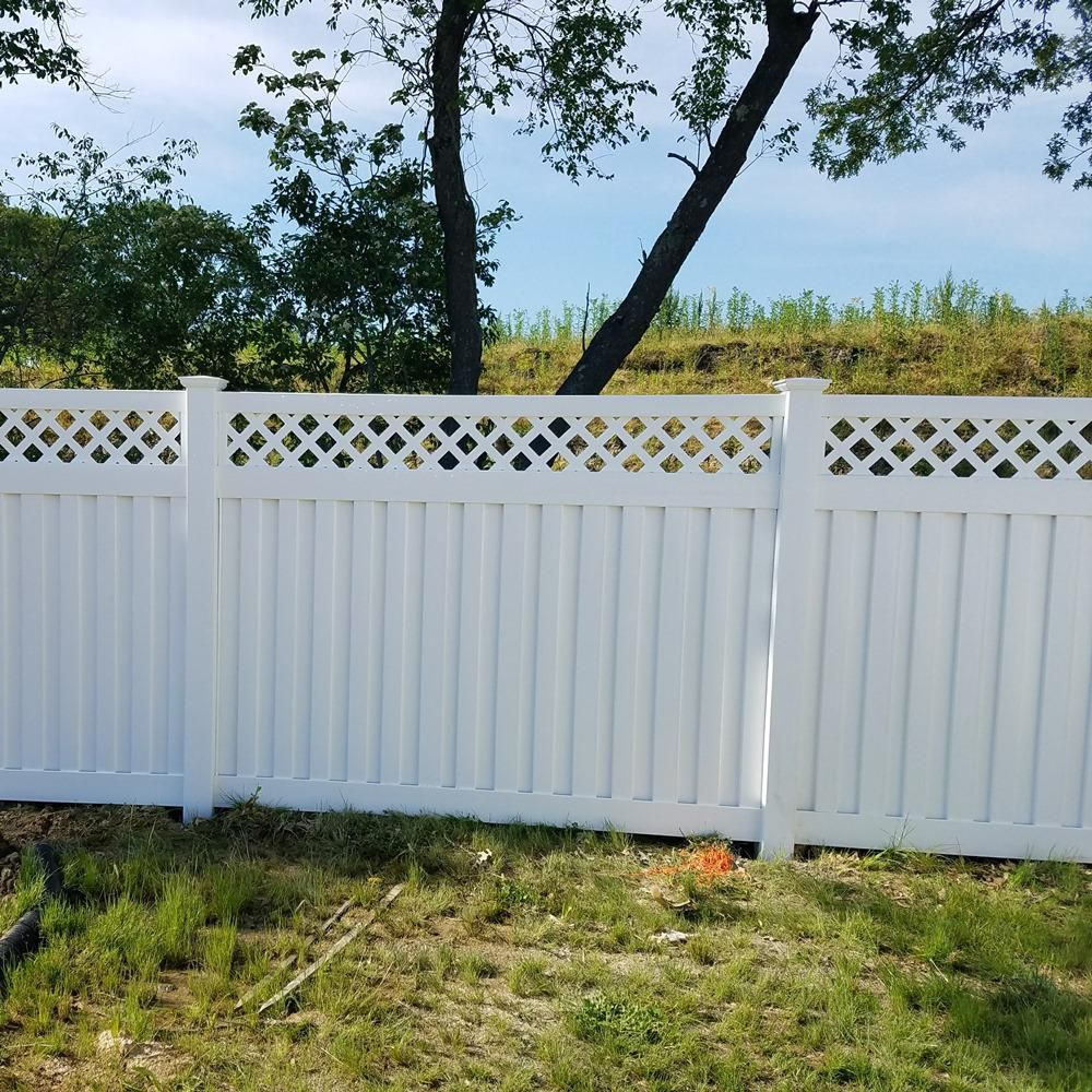 Weatherables Clearwater 5 Ft H X 6 Ft W White Vinyl Privacy Fence Panel Kit Pwpr Panellat 5x6 The Home Depot Vinyl Privacy Fence Privacy Fence Panels Vinyl Fence Panels